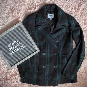 Classic, Notch Collar Double Breasted Plaid Coat